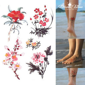 REALISTIC TEMPORARY TATTOO SET - CHINESE INK FLOWERS X5 - WOMENS, KIDS, FAKE