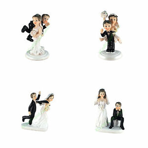 Funny Polyresin Wedding Figurine Cake Topper Bride Groom Humor Marriage Favors