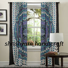 Hippie Elephant Indian Handmade Room Divider Panel Sheer Mandala Cotton Curtain