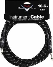 New Fender Custom Shop 18.6 Ft Black Tweed Instrument Guitar Cable! 18 Foot Lead