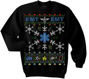 Qraphic Tee EMT Ugly Christmas Sweater (Sweatshirt), Christmas, First Responders