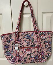 VERA BRADLEY Large Iconic Miller Travel Bag Stitched Flowers Floral Pink Paisley