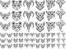 "Animal Sugar Skulls 5""X7"" Card Fused Glass Ceramic Decals 14JR336"