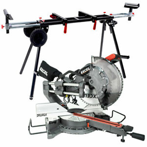 Excel 305mm Mitre Saw 240V Sliding Double Bevel 1800W with Universal Wheel Stand