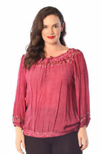 Plus Size Cotton Blend Solid Long Sleeve Tops & Blouses for Women