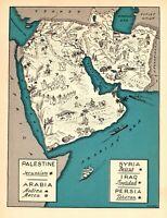 1932 Antique Animated ARABIA Map RARE Map of PALESTINE Iraq Iran Syria BLU 7268