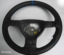 FITS VOLVO 740 REAL BLACK PERFORATED LEATHER STEERING WHEEL COVER + BLUE STRAP