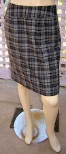 BANANA REPUBLIC Gray/Ivory Plaid Hip-Hugging Wool Blend Fishtail Skirt (4) NEW