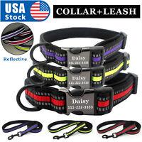 USA Nylon Personalized Dog Collars Free Engraving Custom Pet Name ID Collar