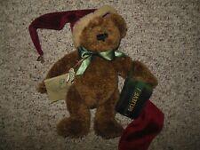 "Boyds Bears With Tags Plush Teddy Bear Holiday 11"" Santa Hat & Stocking Velour"