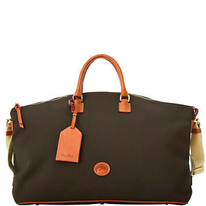 NWT Dooney & Bourke Getaway Cabriolet Weekender Travel Gym Tote Bag Brown New