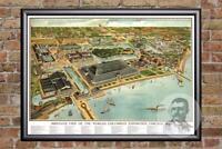 Vintage Chicago, IL Map 1893 - Historic Illinois Art - Old Victorian Industrial