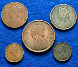 LANZ INDIA GREAT BRITAIN VICTORIA QUEEN LOT 5 COINS COPPER ^HL383