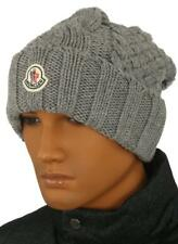 NEW MONCLER LUXURY GRAY CABLE KNIT LOGO FUNKY BEANIE HAT ONE SIZE 100% AUTHENTIC