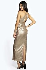 NEW * 8 Gold fully Sequin back & front Maxi Dress with Drape Back Party Dress