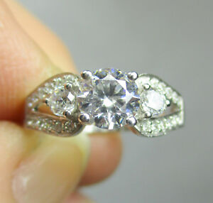 Sterling Silver Engagement Ring Ladies' BRAND NEW with CZs Size 6.75  No 959
