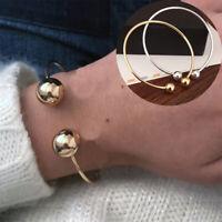 Fashion Women Alloy Ball Opening Cuffs Bangle Charms Bracelet Jewelry Gift New