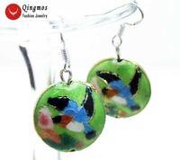 18mm Green Round Cloisonne & Hummingbird Beads Dangle Earrings for Women-ear510