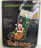 Vintage Sultana Christmas NeedleCraft Stocking Kit 1249 Sequin Felt Stocking Kit
