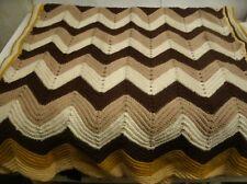 Vintage Hand Crochet Afghan Throw blanket 38x66 zig zag (RE8)
