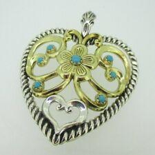 Flower Heart Turquoise Pendant Enhancer Sterling Silver & Brass Carolyn Pollack