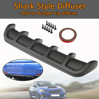"Universal 25""x5"" Matte Carbon Rear Shark Curved Addon Bumper Lip Diffuser 6 Fin"