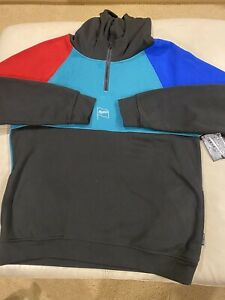 Men's Hoodie Pullover Brooklyn Cloth Multicolor Long Sleeve  Colorful Size L NWT
