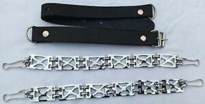 Black Cowhide Leather & Metal Design, Set for Kilt Sporran Chain Belt