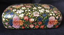 Laquer Papier Mache Trinket Box Vintage Black With Floral Design
