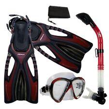Snorkeling Mask Dry Snorkel Fins Dive Gear Package Set