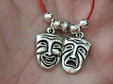 """Comedy Tragedy Necklace Drama Theater Masks Actors Jewelry 18""""-20"""" Red Cord NEW!"""