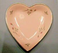 Lenox Rose Manor Heart Shaped w/24 kt Rim Porcelain Candy Trinket Dish