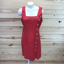 Spiegel Dress 8 Red Linen Blend Sleeveless Knee Length Button Sides Lined B82