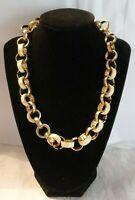 """Vintage Goldtone & cream enamel Link Necklace 18.5"""" - 20.5"""""""