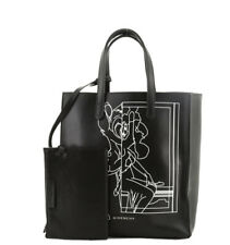 $1,745 AUTH GIVENCHY STARGATE BAMBI LEATHER MEDIUM BLACK TOTE BAG PURSE