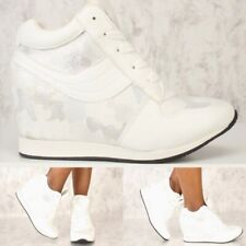 Shimmer Camo Fashion Shoes High Top Ankle Boots Wedge Sneakers Hidden Heels S26