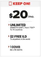 New Black Wireless Sim $20 100 Mb Lte Unlimited Call+Text At&T+ 1 Month Included