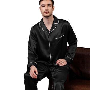 Mens Silk Satin  Pajamas - PJ Set  Top and Bottom - Black White Piping