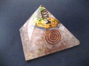 Large Rose Quartz Orgone Pyramid + Mandala Copper Coil Crystal Quartz Point
