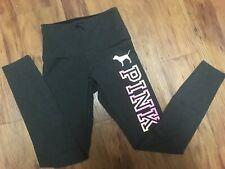 VICTORIA SECRET PINK Cotton Yoga Leggings size S Dog Logo Dark Gray Pants