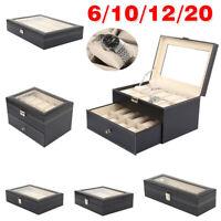 6 10 12 20 Slot PU Leather Watch Box Display Glass Top Jewelry Case Organizer US