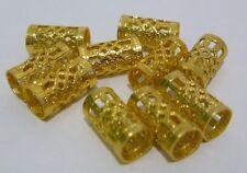10 X oro granos del metal pelo rastas Dread Trenzas Rasta envoltura metálica tubo hueco