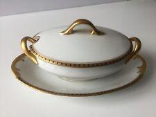 Ancienne saucière à couvercle  XIXème  dorée Porcelaine de Limoges A. TANTÔT