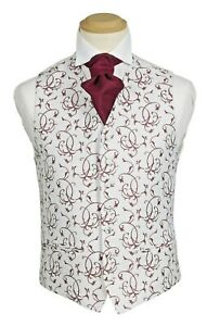 Waistcoat by Piscador. Ivory with Burgundy Floral Pattern. Covered Buttons.