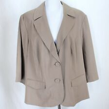 Lane Bryant Blazer Jacket Sz 26/28W Tan Taupe 3/4 Sleeve Button Front New