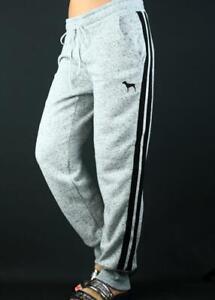 Victoria's Secret PINK Skinny Jogger Sweat Pants Fleece Silver Striped NWT
