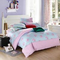 Pink Flower Single Double Queen King Size Bed Set Pillowcase Quilt Duvet Cover