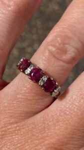 18ct White Gold Diamond And Garnet Ring Size F
