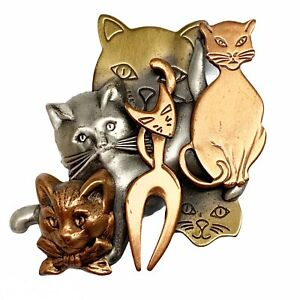 K&T mixed metal breeds of cats large brooch pin Gold Silver Copper Tone