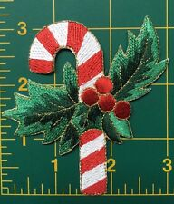 "candy cane embroidery patch christmas applique patch heat seal 3 1/8"" tall"
